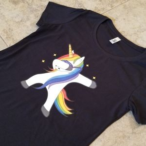 "Next Level Apparel Tops - NEW ""THE DAB"" UNICORN DANCING BLACK TEE SHIRT"